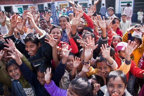 Mob of children in Janakpur