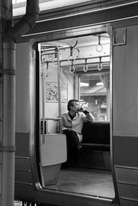 Pensive before the train
